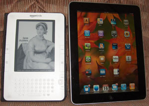 The Kindle and the iPad side-by-side.