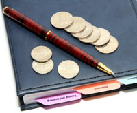 Coins on a notebook