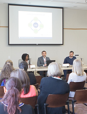 A Can*Innovate session discussing the Online Education Initiative online learning ecosystem was led by Bonnie Peters, OEI Chief Student Services Officer; Jory Hadsell, OEI Executive Director; and Logan Murray, OEI Project Analyst.