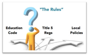 The Rules: Education Code, Title 5 regulations and local college policies