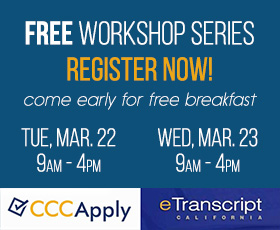 Register for the free CCCApply & California Electronic Transcripts 2016 Workshops.