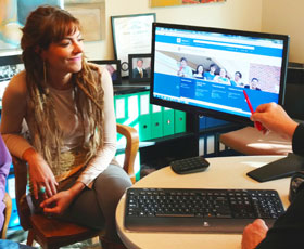 A Santa Rosa Junior College student views the CCC MyPath portal with a counselor.