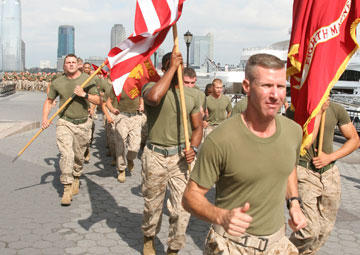 Approximately 400 Marines, Sailors, Coast Guardsmen, New York police and firefighters ran through downtown Manhattan, June 1, 2010, in honor of the victims of 9/11 and America's fallen heros. Official Marine Corps photo illustration by Corporal Patrick Evenson.